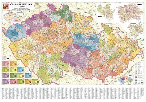 Nástěnná mapa - Česká republika administrativní obří - lamino + lišta cena od 1790 Kč