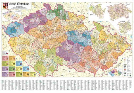 Nástěnná mapa - Česká republika administrativní obří - rám cena od 0 Kč