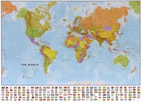 Nástěnná mapa - svět politický s vlajkami - rám cena od 4490 Kč