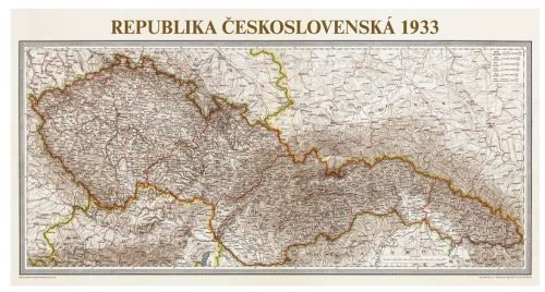 Nástěnná mapa - Československo 1933 - rám cena od 2490 Kč