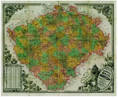 Nástěnná mapa - Království České 1883 - rám cena od 3390 Kč