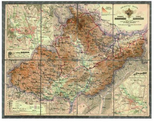 Nástěnná mapa - Morava a Slezko 1883 - rám cena od 2490 Kč