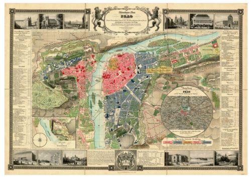Nástěnná mapa - Praha - Prag 1847 - lamino cena od 990 Kč