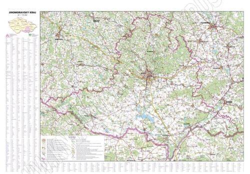 Nástěnná mapa - Jihomoravský kraj - lamino cena od 660 Kč