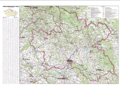 Nástěnná mapa - Královehradecký kraj - lamino cena od 660 Kč