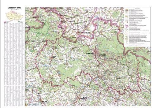 Nástěnná mapa - Liberecký kraj - lamino cena od 660 Kč