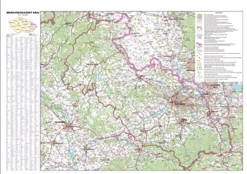 Nástěnná mapa - Moravskoslezský kraj - lamino cena od 660 Kč