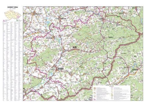 Nástěnná mapa - Zlínský kraj - lamino cena od 660 Kč