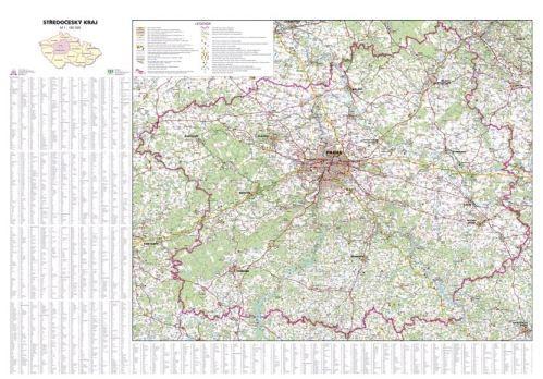 Nástěnná mapa - Středočeský kraj - rám cena od 2990 Kč