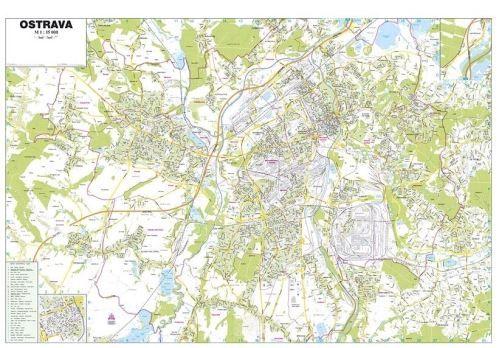 Nástěnná mapa - Města ČR - Ostrava - lamino cena od 590 Kč