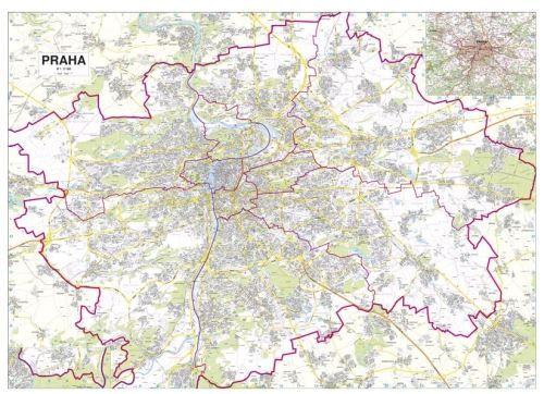 Nástěnná mapa - Města ČR - Praha - rám cena od 4490 Kč