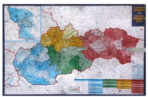 Nástěnná mapa - Slovenská republika PSČ - rám cena od 2490 Kč
