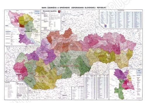 Nástěnná mapa - Administrativní mapa Slovenska - rám cena od 2490 Kč