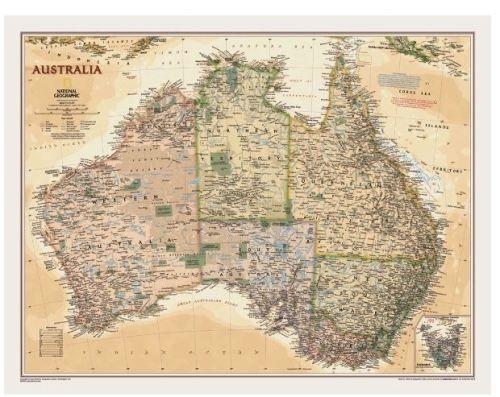 Nástěnná mapa - Austrálie - National Geographic - rám cena od 2490 Kč