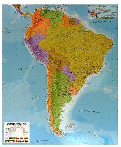 Nástěnná mapa - Jižní Amerika - rám cena od 3990 Kč