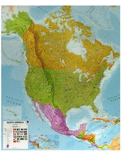 Nástěnná mapa - Severní Amerika - rám cena od 3990 Kč