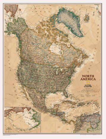 Nástěnná mapa - Severní Amerika - National Geographic - rám cena od 2490 Kč