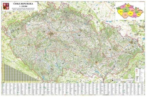 Nástěnná mapa - Česká republika obří - lamino + lišty cena od 2390 Kč