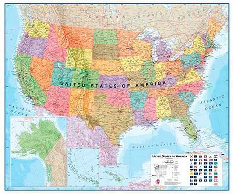 Nástěnná mapa - USA - rám cena od 3990 Kč