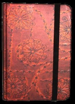 Zápisník s gumičkou 95x140 mm červený ornament cena od 89 Kč