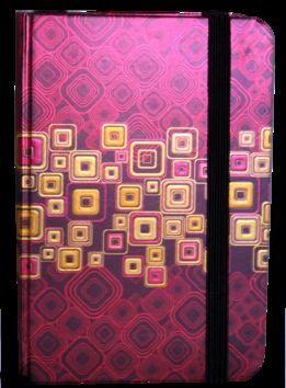 Zápisník s gumičkou 95x140 mm červenozlaté čtverce cena od 89 Kč