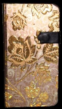 Zápisník s magnetickým klipem 85x160 mm zlaté květy cena od 110 Kč