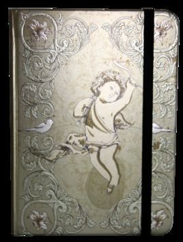 Zápisník s gumičkou 130x180 mm zlatý s andělíčkem cena od 0 Kč