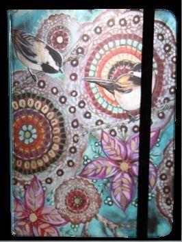 Zápisník s gumičkou 130x180 mm barevný s ptáčky a květy cena od 129 Kč