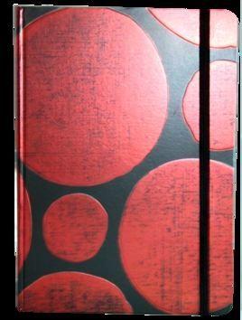Zápisník s gumičkou A5 145x210 mm černý s červenými koly cena od 136 Kč