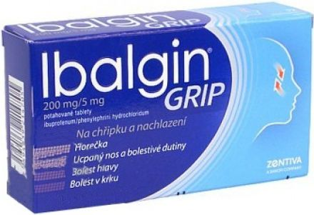 Ibalgin Grip 200 mg 12 tablet cena od 0 Kč