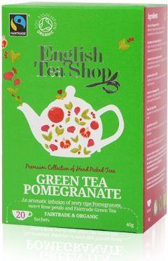 English Tea Shop Bio a Fairtrade Zelený Čaj S Granátovým jablkem