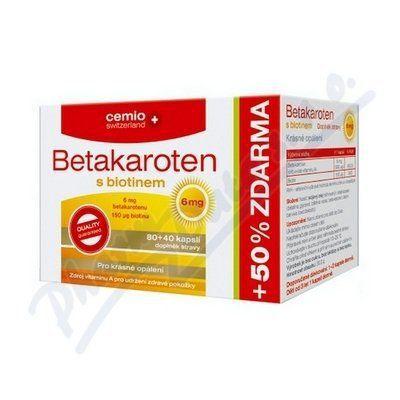 Cemio Betakaroten 6 mg s biotinem 120 kapslí