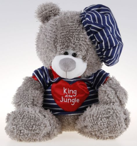 Alltoys Sedící medvěd s čepičkou a v proužkovaném tričku 38 cm cena od 0 Kč