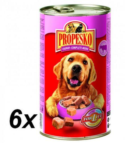 Propesko kousky pes hovězí+kuřecí+zvěřina 6 x 1240 g