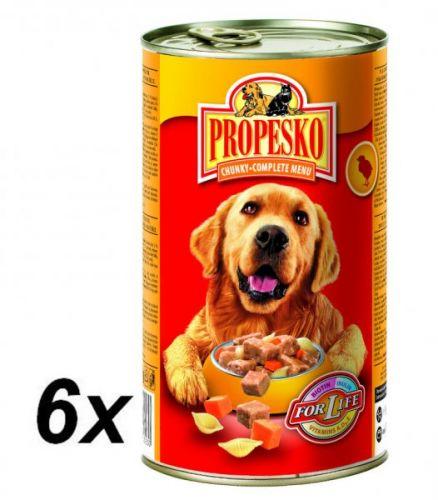 Propesko kousky pes kuře+těstoviny+mrkev 6x1240 g