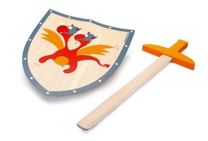 Scratch Dřevěný meč a štít Červený drak cena od 535 Kč