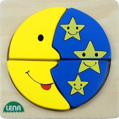 LENA Dřevěné puzzle měsíc a hvězdy 4 díly cena od 98 Kč