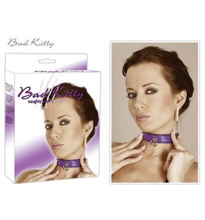 BAD KITTY Obojek purple s kroužkem
