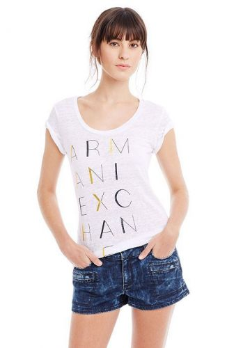 Armani Exchange Stacked Logo Linen Tee triko