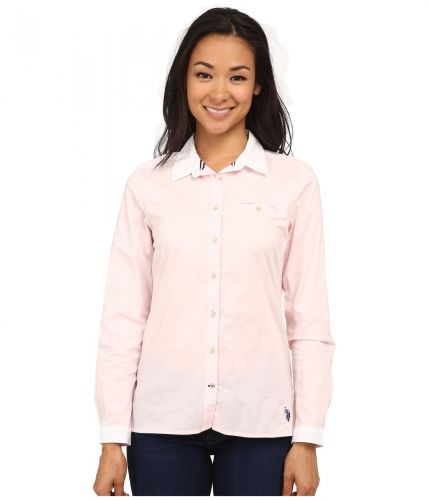 U.S. Polo Assn. Solid Poplin Shirt With White Collar košile