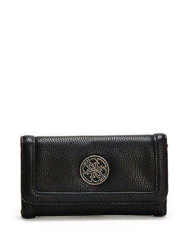 GUESS Enamel Quattro slim clutch peněženka