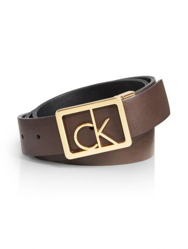 Calvin Klein Reversible logo buckle leather pásek