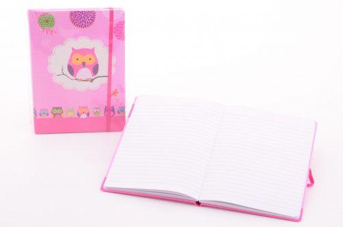 Johntoy: Zápisník dívčí A5 s gumou Sovičky cena od 42 Kč