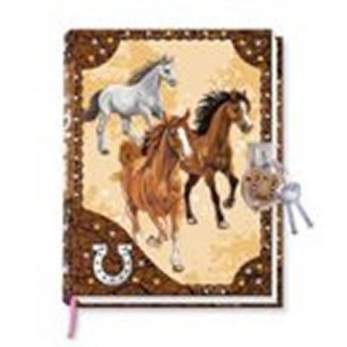 Diář se zámkem v obalu - koně cena od 196 Kč