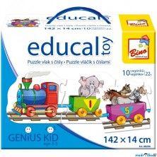 Bino Educal Toy Puzzle vlak s čísly