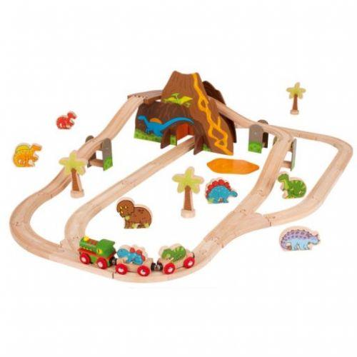 Bigjigs Toys Dřevěná dinosauří vláčkodráha cena od 1323 Kč