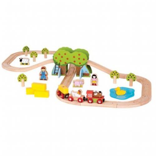 Bigjigs Toys Rail dřevěná vláčkodráha farma cena od 955 Kč