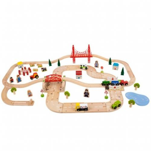 Bigjigs Toys Dřevěná vláčkodráha s venkovskou cestou cena od 1540 Kč