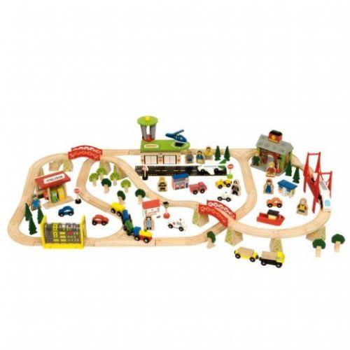Bigjigs Toys Dřevěná vláčkodráha Veřejná doprava cena od 2540 Kč