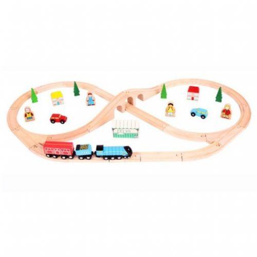 Bigjigs Toys Dřevěná vláčkodráha osmička s rovinkou cena od 975 Kč